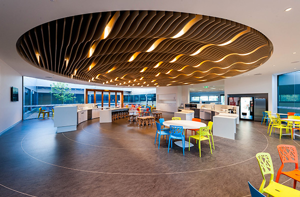 Case study black acoustic insulation for semi exposed for Exposed ceiling design