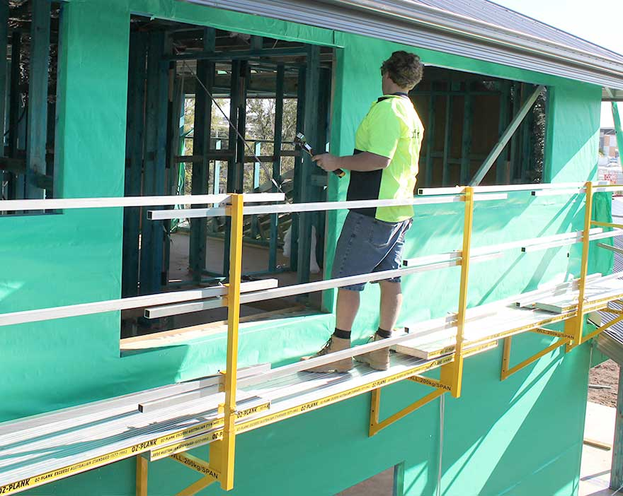 The RapidWrap system provides quick, easy and safe access to a two-storey frame